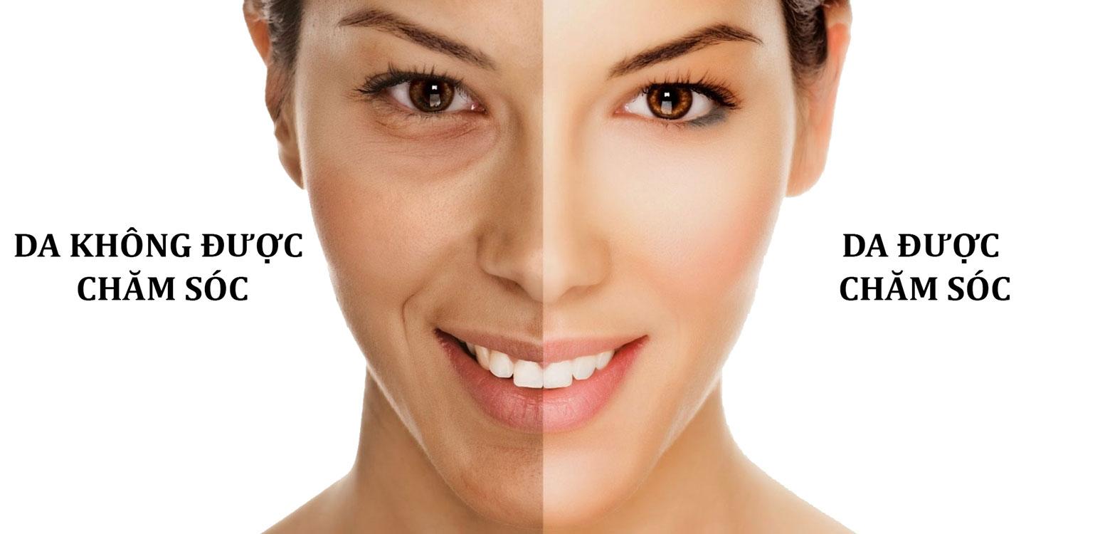 so sánh chăm sóc da và không chăm sóc da